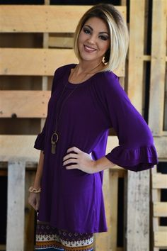 Plum Ruffle Tunic from The Zig Zag Stripe (purple) #affordable #boutique - Use code ZZS9 for free shipping!