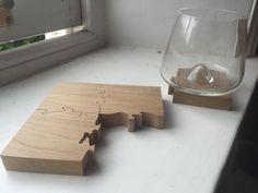 Wooden Oak Jigsaw Drinks Coaster Set of 4 by TheHairyScroller