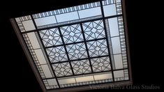 Leaded glass decorative flat skylight with clear textured acid etched glass, crystal jewels for a garnd hall of a private residence