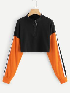 SheIn offers Striped Tape Sleeve Colorblock Sweatshirt & more to fit your fashionable needs. Girls Fashion Clothes, Teen Fashion Outfits, Girl Outfits, Crop Top Outfits, Cute Casual Outfits, Trendy Hoodies, Men's Hoodies, Jugend Mode Outfits, Vetement Fashion