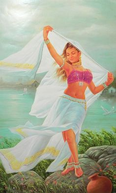 Dancing Lady (Reprint on Paper - Unframed) Indian Women Painting, Indian Art Paintings, Indian Artist, Indian Drawing, Rajasthani Painting, Composition Painting, Indian Art Gallery, Indian Illustration, Dance Paintings