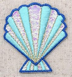Seashell - Blue/Pink  - Shimmery -  Sea Shell - Beach -Iron On Applique/Embroidered Patch