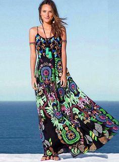 Повседневное платье из хлопока длины макси с цветочным принтом без рукавов (1054108) @