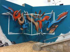 壁から文字が飛び出すアナモルフィックなグラフィティアート - K'conf