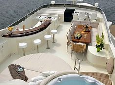 You can almost feel the warm sun and smell the sea from this beautiful sun deck. From wealthandluxury.com.