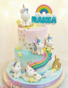 Trendy Ideas For Birthday Party Girl Unicorn Cake Ideas Baby Cakes, Girl Cakes, Deco Cupcake, Cupcake Cakes, Pony Cake, Unicorn Birthday Parties, Cake Birthday, Tiered Birthday Cakes, Rainbow Birthday