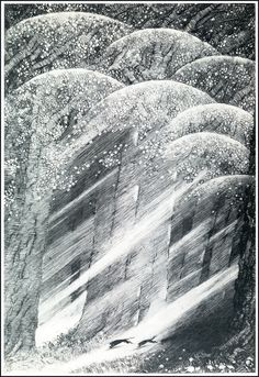 Hunting the Moon from {unknown} illustrated by Sidney Sime (1867 - 1941). Published in 1936.