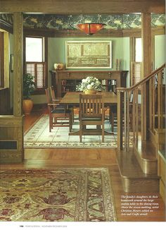 EXAMPLE OF WALLPAPER FREIZE ABOVE FIREPLACE/BOOKCASE ETC      Arts & Crafts | Craftsman | Bungalow