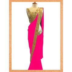 Designer Pink Georgeet Saree - Buy Pink Georgeet Saree Online at Best Prices in India | Vendorvilla.com at just Rs.1650/- on www.vendorvilla.com. Cash on Delivery, Easy Returns, Lowest Price.