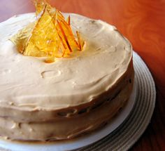 cinnamon cake with dulce de leche frosting and salted caramel shards