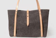 Handmade Canvas Leather purse handbag shoulder bag beige for women leather tote bag