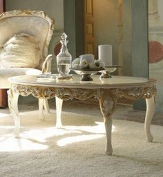 Italian rose and ribbon oval coffee table