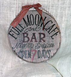Vintage Wooden Bar Sign Full Moon Bar & by AppalachianArtisans, $16.00