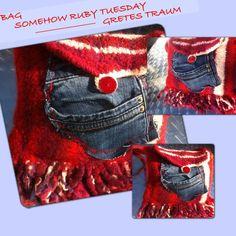 Handtasche - TASCHE, SOMEHOW RUBY TUESDAY, Filz, Jeans retro - ein Designerstück von GretesTraum bei DaWanda
