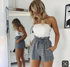 cute outfits for school . cute outfits with leggings . cute outfits for winter . cute outfits for women . cute outfits for school for highschool . cute outfits for spring Summer Shorts Outfits, Trendy Summer Outfits, Cute Casual Outfits, Unique Outfits, Short Outfits, Beautiful Outfits, Spring Outfits, Grey Shorts Outfit, Cute Vacation Outfits
