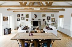 Family Room Decorating, Decorating Ideas, Decorating Kitchen, Open Floor House Plans, Floor Plans, Simple Living Room, Modern Living, Dining Room Design, Design Kitchen