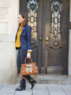 Blazer, stament trousers and a mustard shirt