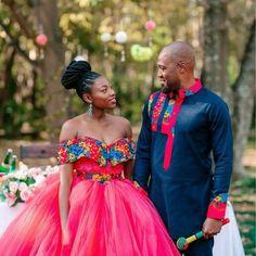 Tsonga Traditional Dresses, South African Traditional Dresses, African Traditional Wedding, Couples African Outfits, African Fashion Dresses, African Dress, Traditional Wedding Attire, Shweshwe Dresses, African Wedding Attire