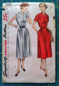 Vintage 1950s Sewing Pattern Simplicity 4330 Shirtwaist Dress Bust 30 Size 12.  Retro Sewing Patterns Mad Men.