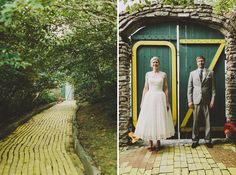 yellow brick road bride and groom omg omg omg omg.  This place exists in NC!  Its a shut down theme park