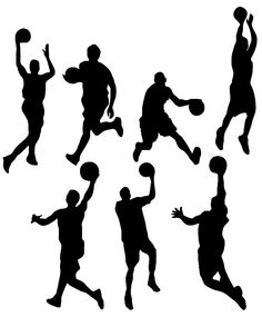 Basketball Action: Basketball Player silhouettes template, stencil, sjabloon. Perfect for a boysroom mural, card making or other crafts. From Google Search