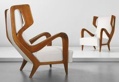 View Pair of rare wingback chairs by Gio Ponti sold at Design Masters on New York Auction 16 December 2014 Learn more about the piece and artist, and its final selling price Design Furniture, Chair Design, Vintage Furniture, Cool Furniture, Modern Furniture, Futuristic Furniture, Lounge Furniture, Plywood Furniture, Luxury Furniture
