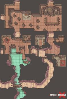 CrossheadStudios Pirate Hideout Dungeon Battle map for D&D Dungeons and Dragons, Pathfinder RPG lg Fantasy Map Making, Fantasy World Map, Dungeons And Dragons Homebrew, D&d Dungeons And Dragons, Rpg Wallpaper, Character Concept, Character Design, Dnd World Map, Pathfinder Maps