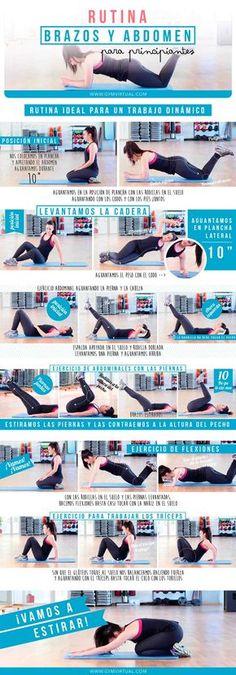 Rutina para trabajar el abdomen y los brazos paso a paso   GYM VIRTUAL