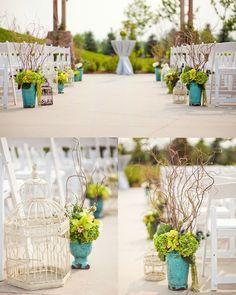 Wedding aisle- Purple simple flowers with mason jars on the floor