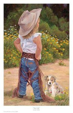 Boss Lady by June Dudley - Little Cowgirl Puppy Dog Cow Girl, Little Cowboy, Cowboy And Cowgirl, Toddler Cowgirl, Cowboy Pics, Cowboy Pictures, Cowboy Boots, Danse Country, Cute Kids