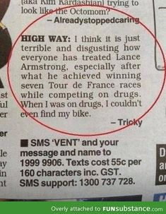 This is hilarious. Lance Armstrong PEDs (technically, I think he just blood doped, which isnt using drugs, but whatever. Still funny :-D)