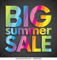 Big summer sale colorful striped text background. Vector illustration for banner, poster, flyer, card, postcard, cover, brochure.