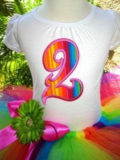 Girls Birthday Rainbow Fade Tutu Outfit