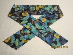 """Extra Wide 3"""" Reusable Non-Toxic Cool Wrap / Neck Cooler  - Animal Prints - Butterflies - Blue & Yellow on Black by ShawnasSpecialties on Etsy"""