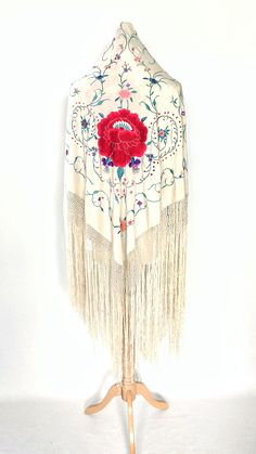 Beautiful vintage white piano shawl with large embroidered red flower. Perfect for a vintage/bohemian bride Bohemian Bride, Vintage Bohemian, White Piano, Vintage London, Floral Motif, Red Flowers, Floral Embroidery, Shawls, Cover Design