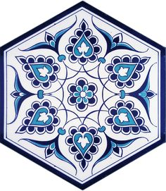Painting Tile Floors, Stencil Painting, Ceramic Painting, Arabesque Pattern, Hexagon Pattern, Pattern Art, Sweet Box Design, Picture Gifts, Blue Pottery