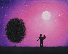 Bing Art by Rachel Bingaman: Silhouette Couple Painting, Starry Night Silhouette Art, 8 x 10, Original Oil Painting