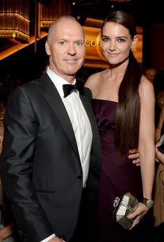 Michael Keaton and Katie Holmes posed together.