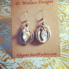 dwallacedesigns Vintage button, crystal, pearl earrings.