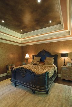 I want to do my trey ceiling in the bedroom a tad darker than the walls like this... Just nervous