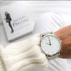 White Knit Sweater……here Larsson And Jennings Watch, Just Pretend, Uniqlo, Bracelet Watch, Mens Fashion, Watches, Blog, Accessories, Style