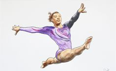 Mixed media drawing: *Female Gymnast (Simone Biles)*; water colour, coloured pencils & ink; 35.6 x 22 cms.
