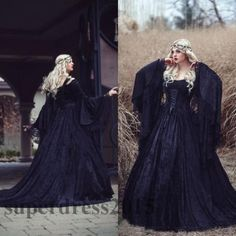 Medieval Black Gothic Lace Wedding Dresses Long Sleeved Lace up Back Bridal Gown #BallGown