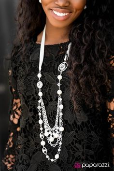How cool is this? A white ribbon replaces a chain for a pretty spin on the long necklace. Great for those spring or hot, summer nights - white linen anyone? Long necklace | white accessories | white linen all white party | diamonds and pearls