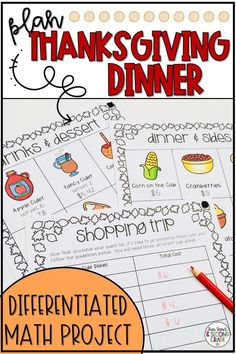 This Thanksgiving math project is challenging, fun and engaging! Students will plan Thanksgiving dinner for their family. They'll plan the guest list, and purchase side dishes, main courses, drinks and desserts. Students will continue learning as they practice addition, subtraction, and money. This printable activity is differentiated, and is perfect for November math centers or small groups. (2nd, 3rd grade) Thanksgiving Classroom Activities, Thanksgiving Math, Math Activities, Classroom Ideas, Montessori Classroom, Teaching Money, Teaching Special Education, Teaching Math, Teaching Measurement