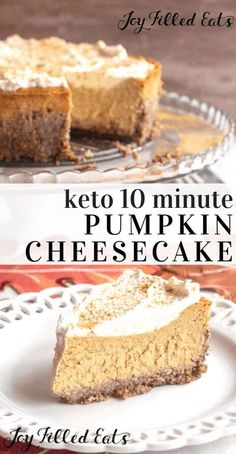 This keto pumpkin cheesecake recipe comes together in minutes in your food processor or blender. Less than 10 ingredients to a delicious fall dessert. Keto Desserts, Desserts Sains, Keto Friendly Desserts, Keto Recipes, Dessert Recipes, Delicious Desserts, Holiday Desserts, Keto Holiday, Easy Fall Desserts