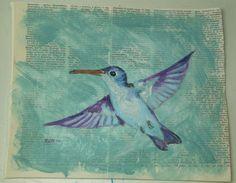 "Hovering Hummingbird on Text 11"" X 9"" Acrylic  Original Ramfish Artist #IllustrationArt"