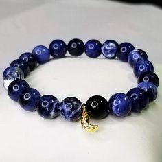 Sodalite Real Gold Moon Charm Bracelet, Confidence & Self Esteem Enhancing Crystals, Gemstone Bracelets, Gemstone Jewelry, Third Eye Chakra, Moon Charm, Stretch Bracelets, Royal Blue, Charmed, Etsy Shop, Gemstones