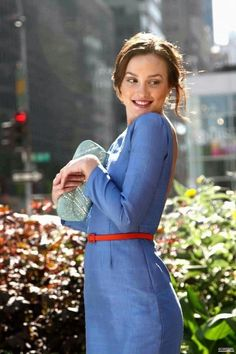 Blair models an Eleanor Waldorf original, which is actually by ghost designer Abigail Lorick.