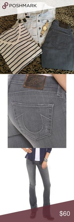 True Religion Lexy Whiskering and fading lighten the grey wash of these boot-cut True Religion jeans. 5-pocket styling. Button closure and zip fly. ****These jeans have been altered, they are not a boot-cut, they are more of a straight leg, see compared measurements of leg opening****  Fabric: Lightweight stretch denim. 90% cotton/6% polyester/4% elastane. Wash cold. Made in the USA.  MEASUREMENTS Rise: 7in / 18cm Inseam: 33in / 84cm Leg opening: 16in / 40.5cm new measurement: 11 in True…